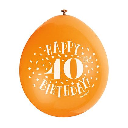 "Age 40 9"" Latex Multi Coloured Balloons"