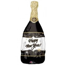 Happy New Year Black Champagne Bottle Super Shape Balloon
