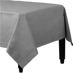 Silver Plastic-Lined Paper Tablecover