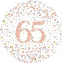 Rose Gold Sparkle Age 65 Foil Balloon
