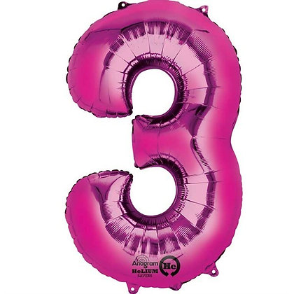 Pink Giant Number 3 Foil Balloon