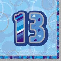 Blue Glitz Age 13 Napkin
