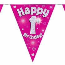 Pink Age 1 Bunting