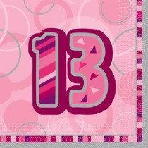 Pink Glitz Age 13 Napkin
