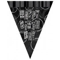 Black Glitz Happy Birthday Bunting