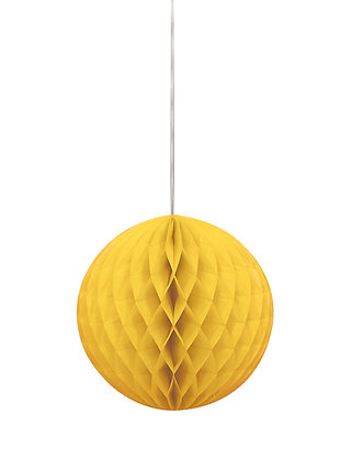 """Yellow 8"""" Paper Honeycomb Ball"""