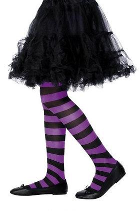 Children's Black and Purple Striped Tights