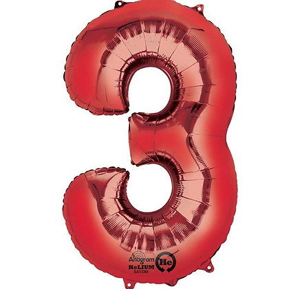 Red Giant Number 3 Foil Balloon