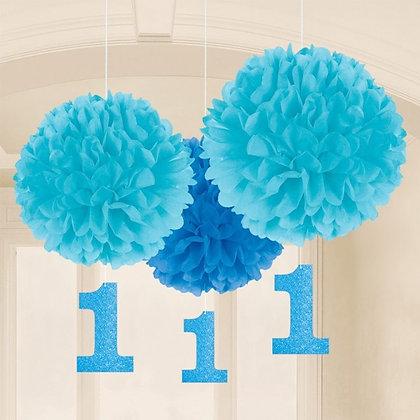 Blue 1st Birthday Pom Poms