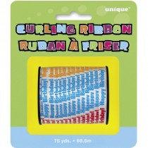 Multi Coloured Happy Birthday Curling Ribbon