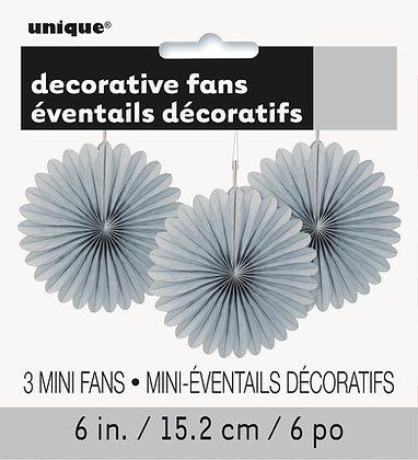 "Silver 6"" Mini Paper Fans"