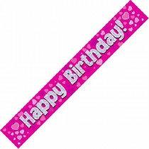 Pink Happy Birthday Banner
