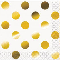White and Metallic Gold Dot Napkins