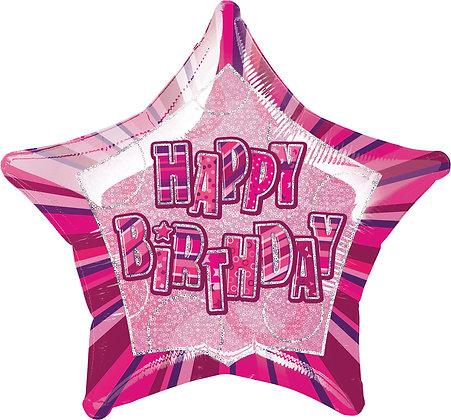 Pink Glitz Foil Star Balloon