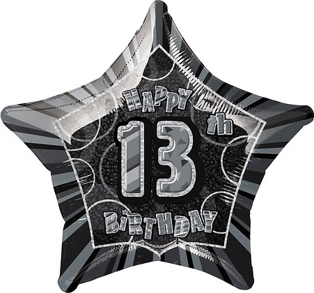 Black Glitz Foil Age 13 Balloon