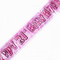Pink Glitz Age 21 Banner