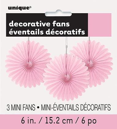 """Pink 6"""" Mini Paper Fans"""