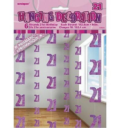 Pink Glitz Age 21 String Decoration