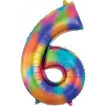 Rainbow Splash Giant Number 6 Foil