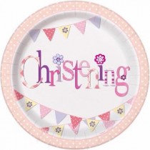 Pink Bunting Christening Paper Plates