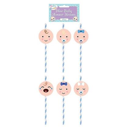 Blue Baby Shower Straws