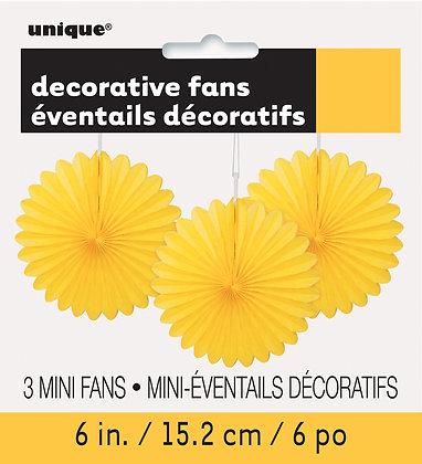 "Yellow 6"" Mini Paper Fans"