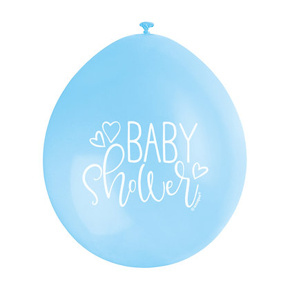 """Baby Shower 9"""" Latex Blue and White Balloons"""