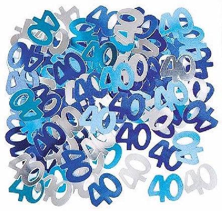 Blue Glitz Age 40 Confetti