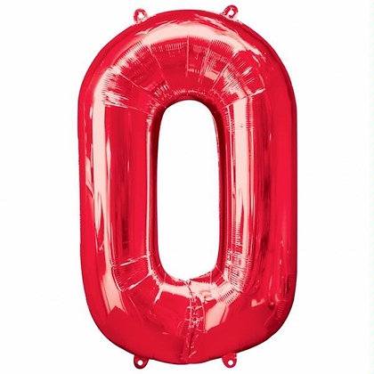 Red Giant Number 0 Foil Balloon