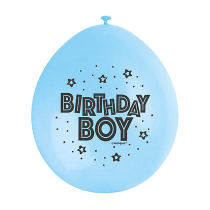 "Birthday Boy 9"" Latex Blue and White Balloons"