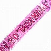 Pink Glitz Age 80 Banner