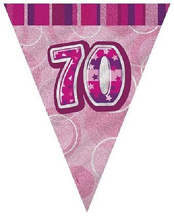 Pink Glitz Age 70 Bunting