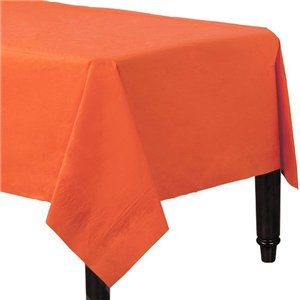 Orange Plastic-Lined Paper Tablecover