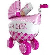 Super Shaped Pink Pram Foil Balloon