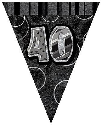 Black Glitz Age 40 Bunting
