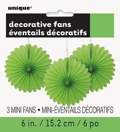 "Lime Green 6"" Mini Paper Fans"