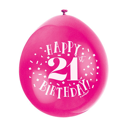 "Age 21 9"" Latex Multi Coloured Balloons"