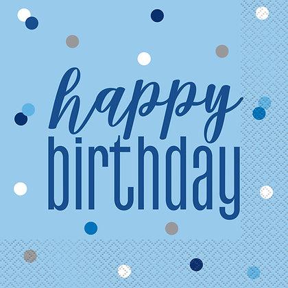 New Glitz Blue Birthday Napkins