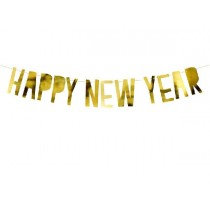 Happy New Year Gold Paper Letter Banner