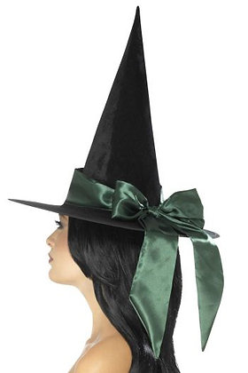Black Witch Hat with Green Bow
