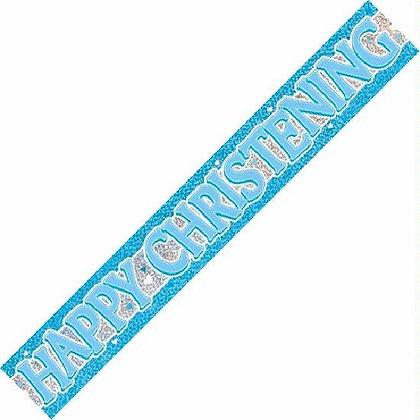 Blue Christening Foil Banner