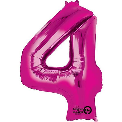 Pink Giant Number 4 Foil Balloon