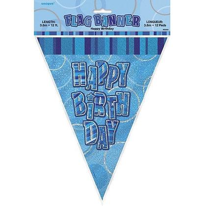 Blue Glitz Happy Birthday Bunting