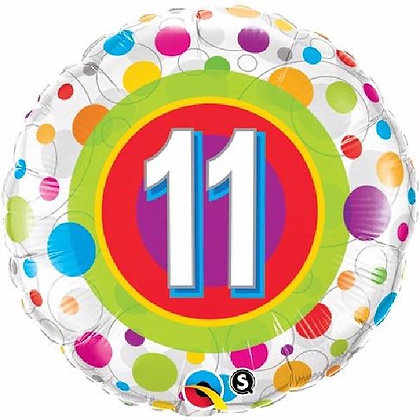 Colourful Dots Age 11 Foil Balloon