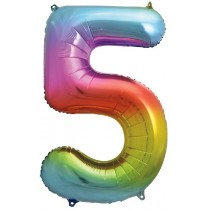 Rainbow Stripe Number 5 Foil Balloon