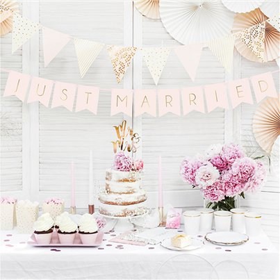 Pink and Gold Just Married Bunting