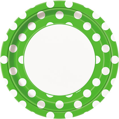 """Lime Green Dotty 9"""" Paper Plates"""