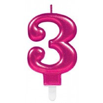 Pink Number 3 Candle