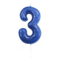 Blue Glitter Number 3 Candle