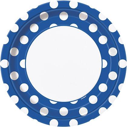 """Royal Blue Dotty 9"""" Paper Plates"""